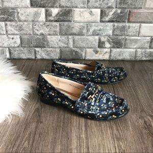Cabi #6005 carnaby Blue velvet floral loafers 7